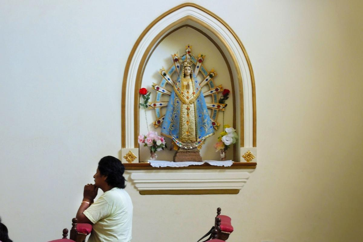 A statue of Our Lady of Luján is one of three Marian statues in the Blessed Sacrament chapel of the Cathedral of Our Lady of the Rosary in Cafayate, Argentina.