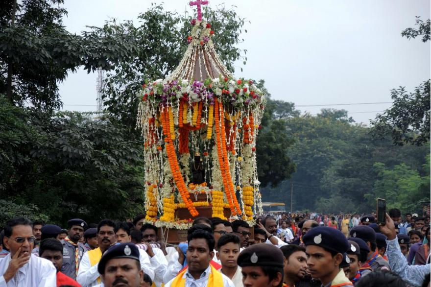 The Dhori Mata is set on a platform decorated in flowers and carried in procession.
