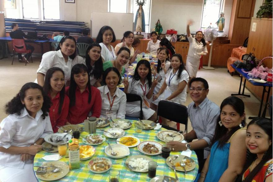 El Shaddai workers after services at St. Joseph's Church