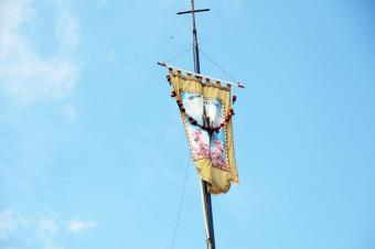 """Hail Mary"" is written in Hindi on the flag that flies over the feast of Dhori Mata."